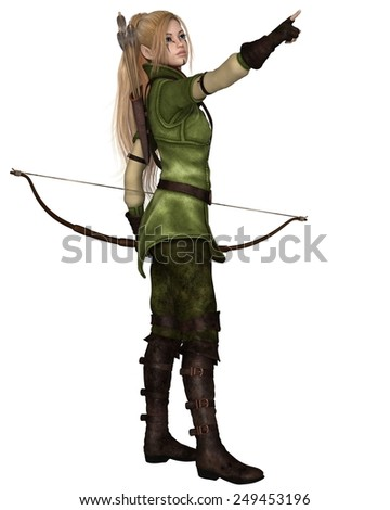 Fantasy illustration of a blonde female elf archer with bow and arrows dressed in green and brown, pointing upwards, 3d digitally rendered illustration isolated on white