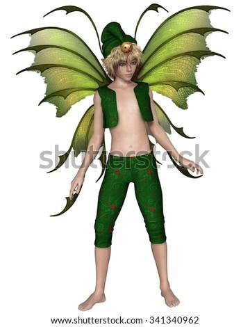 Fantasy illustration of a Christmas fairy or elf boy, 3d digitally rendered illustration - stock photo