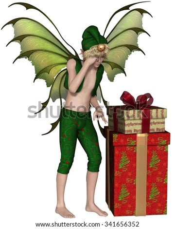 Fantasy illustration of a Christmas fairy or elf boy standing with a pile of festive presents, 3d digitally rendered illustration - stock photo
