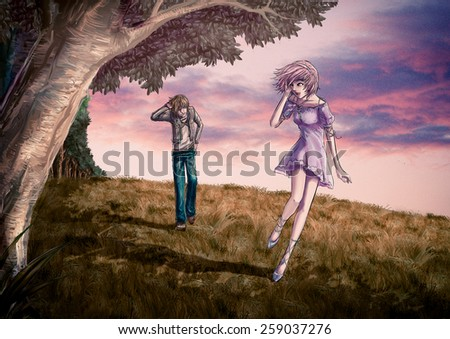 Fantasy illustration of a cute couple is walking along the beautiful field on the hill in romantic color style - stock photo