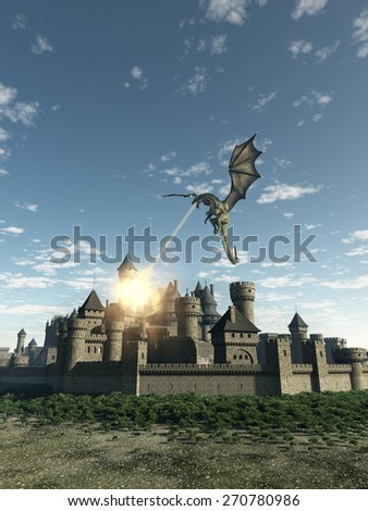Fantasy illustration of a dragon making a fiery attack on a Medieval walled city, 3d digitally rendered illustration - stock photo