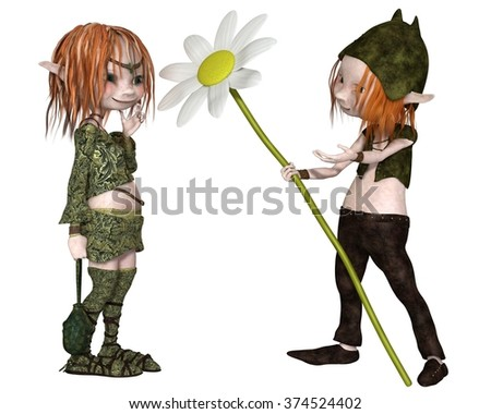 Fantasy illustration of a Goblin or small Troll giving his lady a flower for Valentine's Day, 3d digitally rendered illustration