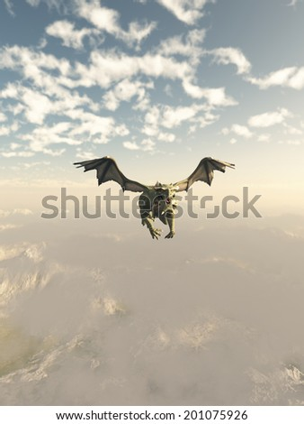 Fantasy illustration of a green dragon flying over high mountains, 3d digitally rendered illustration - stock photo