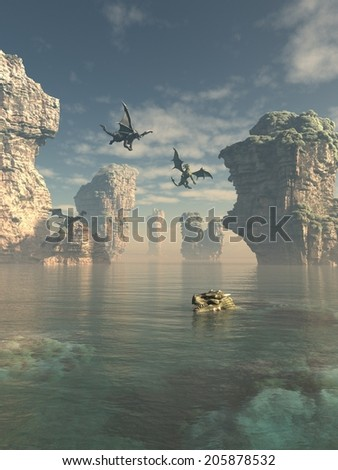Fantasy illustration of a group of dragons flying from the cliffs and swimming in the ocean between sea stacks, 3d digitally rendered illustration - stock photo