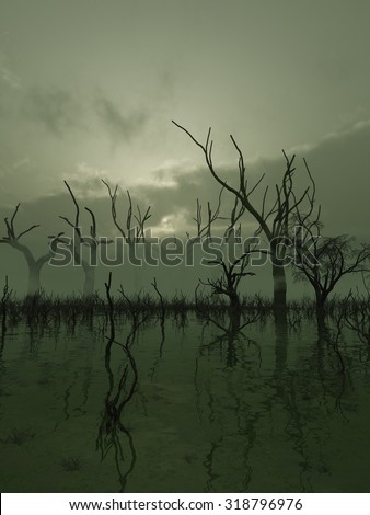 Fantasy illustration of a misty swamp with twisted trees standing in the water, 3d digitally rendered illustration