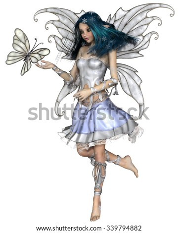 Fantasy illustration of a pretty blue haired fairy with winter snowflakes and white butterfly, 3d digitally rendered illustration - stock photo