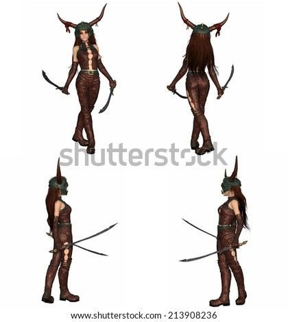 Fantasy illustration of a red-haired warrior elf girl wearing bronze dragon scale armour and helmet and holding two swords, set of four character views, 3d digitally rendered illustration - stock photo