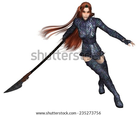 Fantasy illustration of a red-haired warrior elf woman wearing dragon scale armour and fighting with a lance or spear, 3d digitally rendered illustration - stock photo