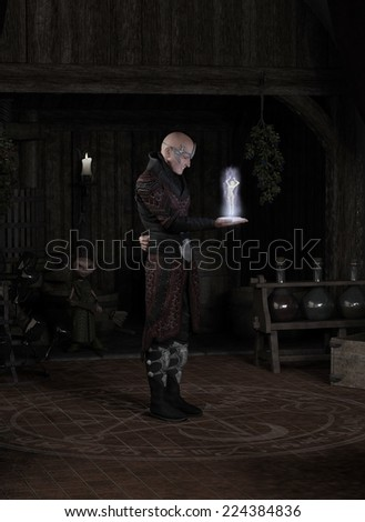 Fantasy illustration of a sorcerer in his study standing inside a magic circle and summoning a succubus, watched by his goblin servant, 3d digitally rendered illustration - stock photo
