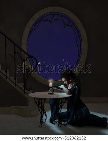 Fantasy illustration of a young goth style woman in a romantic long dress leaning on a table in candlelight, digital illustration (3d rendering)
