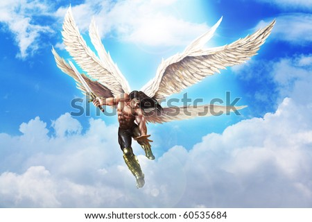 Fantasy illustration of Michael the Archangel - stock photo