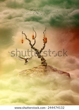 Fantasy Landscape in sky with eagle and birds - stock photo