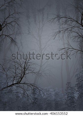 Fantasy landscape in the a dark forest 3D rendering