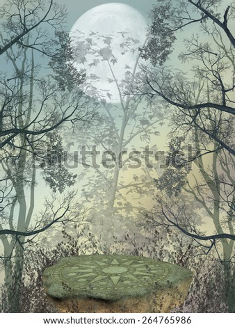 Fantasy landscape in the forest with big rock