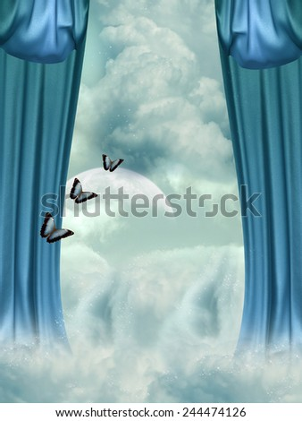 Fantasy Landscape in the sky with butterfly - stock photo