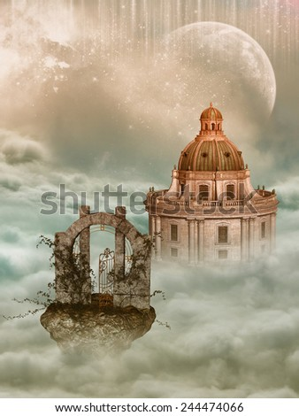 Fantasy Landscape in the sky with castle - stock photo