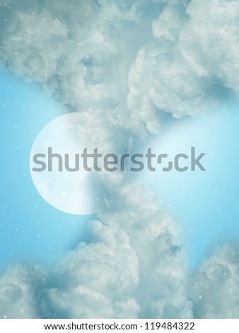 Fantasy Landscape in the sky with stars and moon - stock photo