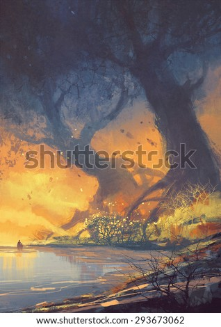 fantasy landscape painting of big trees with huge roots at sunset beach - stock photo