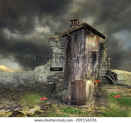 Fantasy landscape with a tree with door window and roof like a house with many details in a magical atmosphere - stock photo
