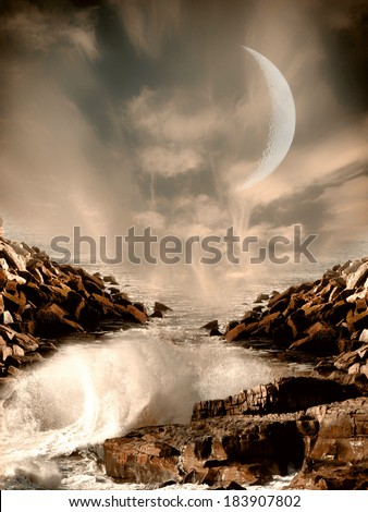 Fantasy Landscape with big moon and rocks in the ocean - stock photo
