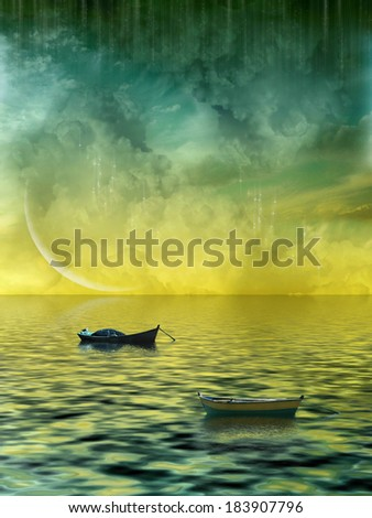 Fantasy Landscape with boats and a big moon - stock photo