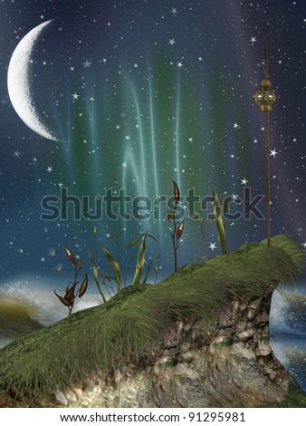 fantasy landscape with cliff in the ocean - stock photo