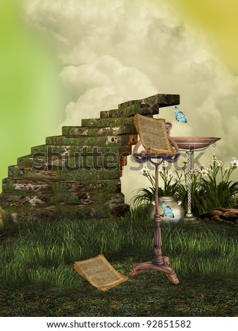 fantasy landscape with fairy music and stairway - stock photo
