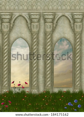 Fantasy Landscape with flowers and a old structure