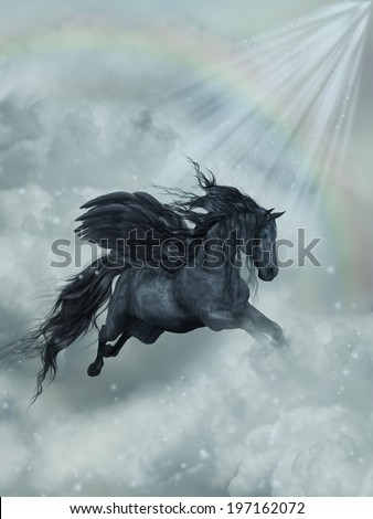 Fantasy Landscape with pegasus in the heaven - stock photo
