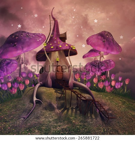Fantasy landscape with pink mushrooms and fairy cottage on a hill - stock photo