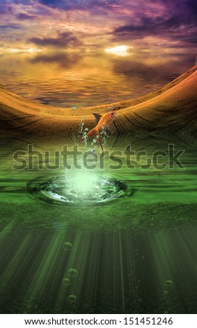 Fantasy landscape with splash from goldfish - stock photo