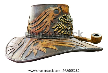 Fantasy leather hat with tobacco pipe isolated. Clipping path included. - stock photo