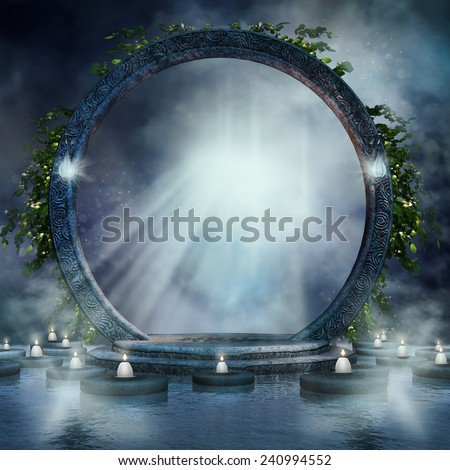 Fantasy magic portal on water with candles and ivy - stock photo