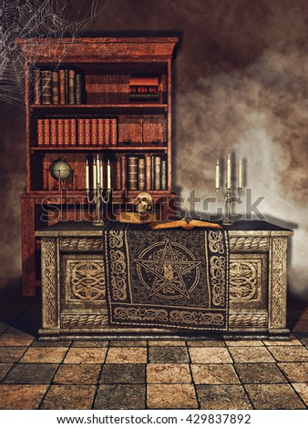 Fantasy magician's room with books, candles, cobwebs, and a skull. 3D illustration.