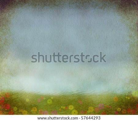 fantasy meadow illustration - stock photo
