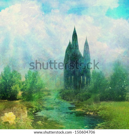 Fantasy meadow with a fairytale tower  - stock photo