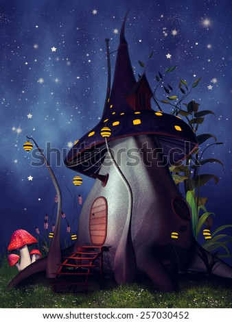 Fantasy mushroom cottage with yellow lanterns at night - stock photo