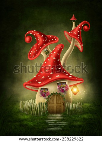 Fantasy mushroom house in the forest - stock photo