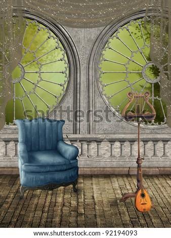 Fantasy music room with big windows and foliage - stock photo
