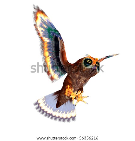 fantasy owl with rainbow colors. 3D rendering with clipping path and shadow over white - stock photo
