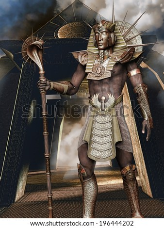 Fantasy pharaoh in a golden armour and snake staff
