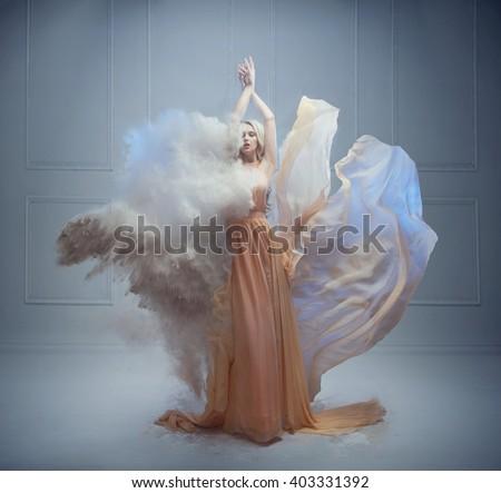Fantasy photo of a sensual blonde beauty - stock photo