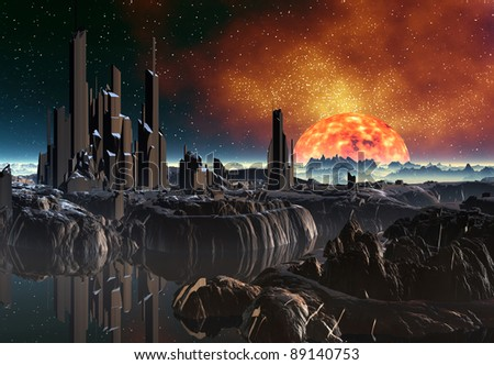Fantasy Planet Near A Sun part 4, 3d rendered fantasy alien planet somewhere in the universe