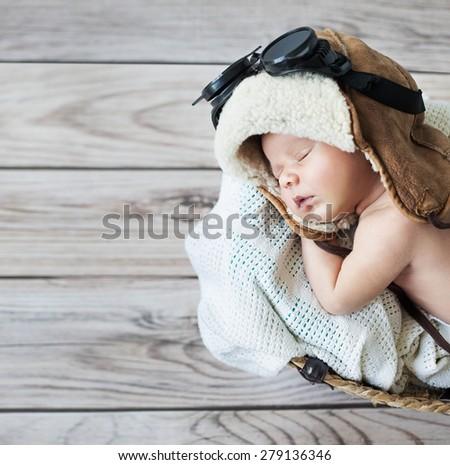 Fantasy portrait of a cute little newborn baby - stock photo