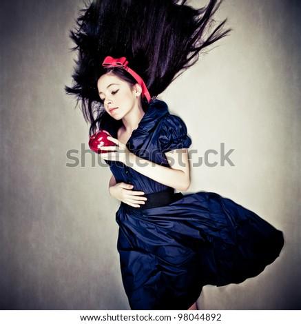 fantasy portrait of girl, in snow white costume - stock photo