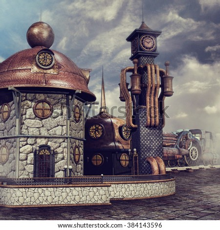 Fantasy railway station with a clock tower and old train - stock photo