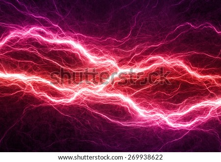 Fantasy red and purple lightning, electrical background - stock photo