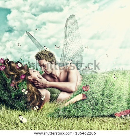 Fantasy romantic collage. Loving fairy couple with wings lying in a bed of grass on meadow outdoor in summer. Tender Lovers - stock photo