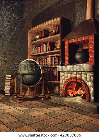 Fantasy room with a fireplace, books, cobwebs, and a cauldron. 3D illustration. - stock photo