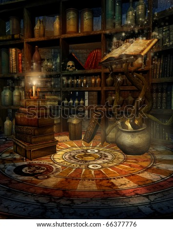 Fantasy room with a magic book, potions, and candles